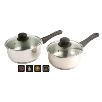 SAUCEPANS, STAINLESS STEEL, Insulated Handle, Glass Lids, 1.5 litres, Each