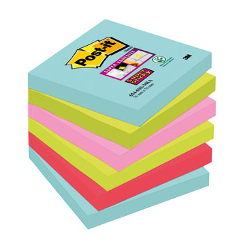 POST-IT(R) SUPER STICKY COLOUR NOTES, Miami, 76 x 76mm, Pack of 6