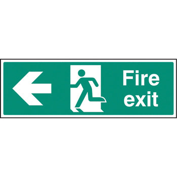 SAFETY SIGNS, FIRE EXIT SIGNS, Self-Adhesive, Arrow Left -  Progress left from here, 450 x 150mm, Each
