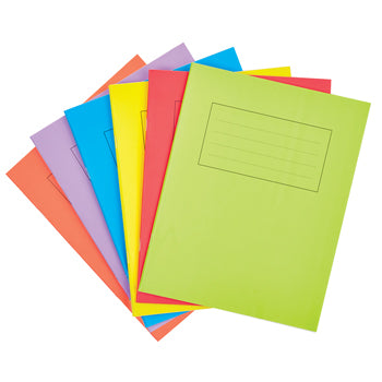 EXERCISE BOOKS, MATT LAMINATED RANGE, A4 (297 x 210mm), 80 pages, 60gsm paper, Red, 10mm ruled with margin, Pack of 50