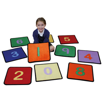LEARNING RUGS, CHILDREN'S CUT PILE RUGS, NUMBER SQUARES, 360 x 360mm, Pack of 10