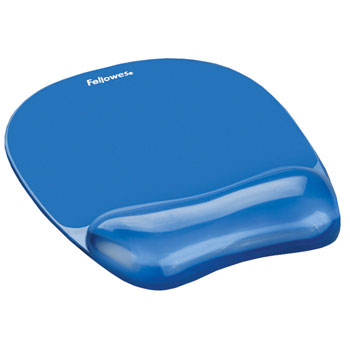 MOUSE MATS WITH WRIST SUPPORT, Crystal Gel, Blue, Each