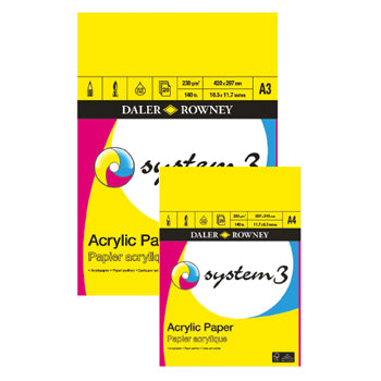 PADS FOR WET MEDIA, Daler-Rowney System 3 Acrylic Pads, A3, Each