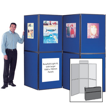 BUSYFOLD(R) FOLDING DISPLAY KITS, Light XL, 6 Panel Unit, With Grey Trim, Cyan