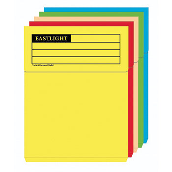 DOCUMENT WALLETS, FOOLSCAP, Vertical, 285gsm, Assorted, Box of 50