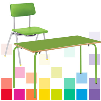 STACKING NURSERY TABLES & CHAIRS CLASS PACK, RECTANGULAR, 1100 x 550mm depth, Sizemark 2 - 530mm height, Green, Smartbuy