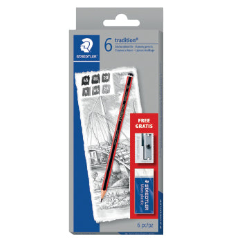 SKETCHING PENCILS, STAEDTLER(R) Tradition, 6B, 4B, 2B, B, HB & 2H, Pack of 6