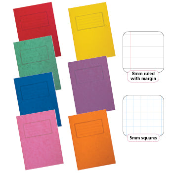 EXERCISE BOOKS, PREMIUM RANGE, 9 x 7'' (229 x 178mm), 80 pages, Orange, 10mm squares, Pack of 50