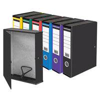 BOX FILES, FOOLSCAP WITH LIDS, Coloured, Black, Box of 10