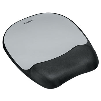 MOUSE MATS WITH WRIST SUPPORT, Memory Foam - Silver Streak, Each