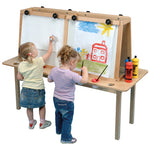 SOLID BEECH FRAMED EASELS, Magnetic Dry Wipe, 2 Sided - 4 Boards, Each
