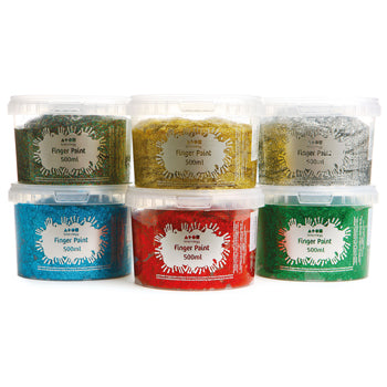 FINGER PAINT, Glitter, Pack of 6 x 500ml