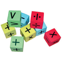 FOAM DICE, Silent, Maths Symbols, 25mm, Set of 8