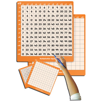 MULTIPLICATION SQUARES, 12 Times Table, Teacher Sized, 500 x 460mm, Each