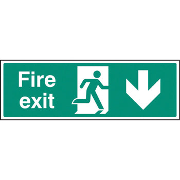 SAFETY SIGNS, FIRE EXIT SIGNS, Self-Adhesive, Arrow Down - Progress down from here, 450 x 150mm, Each