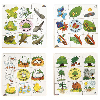 SEQUENCE JIGSAW PUZZLES, LIFE CYCLE PUZZLES, Set of 4