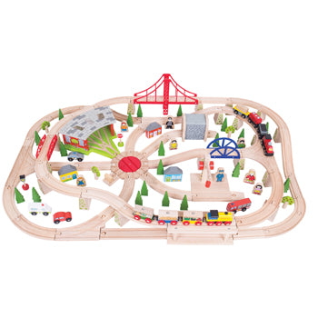 WOODEN TRAIN SETS, 130 Piece, Set