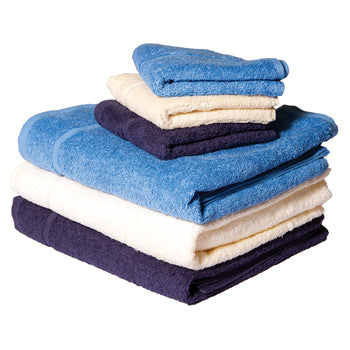 FLANNELS AND TOWELS, Hand Towels, Navy, Pack of 6