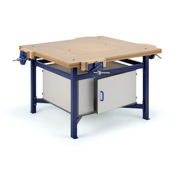 MULTI-MEDIA WORKSTATIONS, BENCH WITH DOUBLE ENTRY CUPBOARD, Blue Frame, KLICK TECHNOLOGY