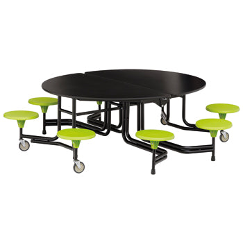TABLE AND SEATING UNITS, 8 SEAT OVAL GRADUATE TABLE, Table Top Black, Lime Green Seats, 740mm height