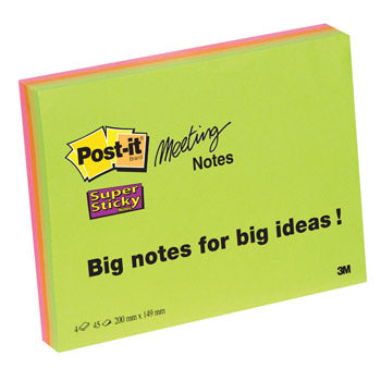 POST-IT(R) SUPER STICKY MEETING NOTES, Neon Colours XXXL, 203 x 152mm, Pack of 4