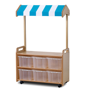 Millhouse  ROLE PLAY ZONE, MOBILE TALL UNIT (WITH SHOP CANOPY), With 6 Clear Tubs