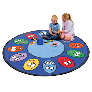 LEARNING RUGS, CHILDREN'S CUT PILE RUGS, Expressions, Round, 1980mm diameter, Each