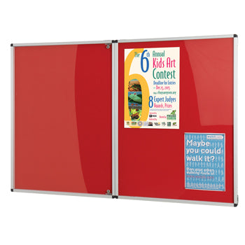 FADE RESISTANT TAMPERPROOF NOTICEBOARDS, Double Door, 1800 x 1200mm height, Red