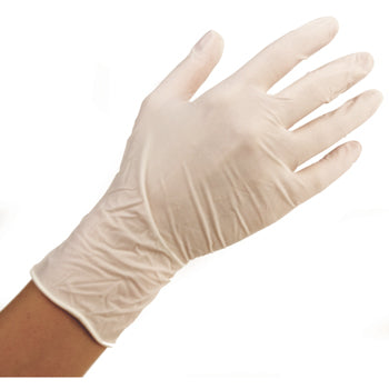EXAMINATION GLOVES, Powder Free, White, Small, Box of 100