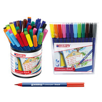 PENS, WASHABLE FIBRE TIP, Edding Colourpen Brush, Assorted, Tub of 42