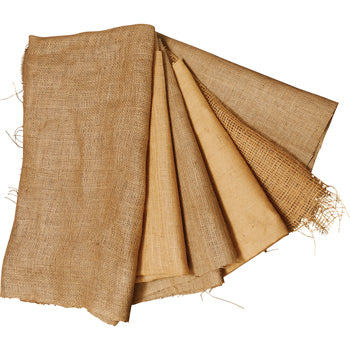 TEXTILES, PLAIN FABRIC, HESSIAN, Natural Six Grades, 1m squared, Pack of 6