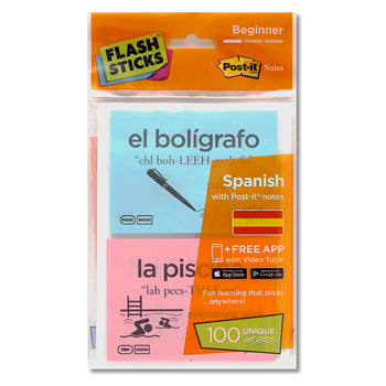FLASHSTICKS(R) Single Packs, Spanish Beginner, Pack of 100