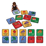 LEARNING RUGS, CHILDREN'S CUT PILE RUGS, Healthy Eating Squares with Labels, 360 x 360mm, Set of 10