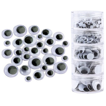 WIGGLY EYES, Assorted Sizes, Black, Plastic Decanting Tube of 560