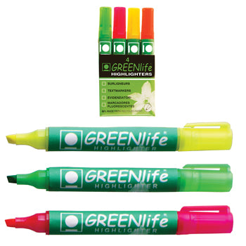 GREENLIFE HIGHLIGHTERS, Single Colours, Green, Box of 10