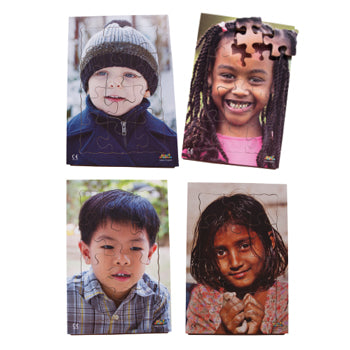 CHILDREN OF THE WORLD PUZZLES, Wooden, Set of 4