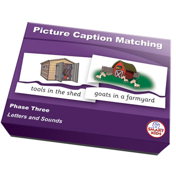 SMART PHONICS, PICTURE CAPTION MATCHING PUZZLES, Phase Three, Set