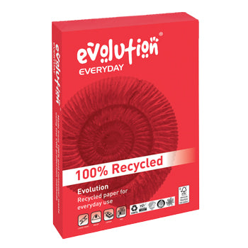 COPIER PAPER, RECYCLED, Evolution 'Everyday' White, 80gsm, A4, Box of 5 reams