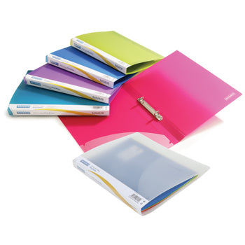 RING BINDERS, 2 RING ('O' Shaped), A4, FLEXIBLE POLYPROPYLENE, Translucent, 25mm Capacity, Clear, Box of 10