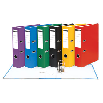 FILES, LEVER ARCH, A4 UPRIGHT, 63mm CAPACITY, 2 RING MECHANISM, Matt Cover, Black, Box of 10