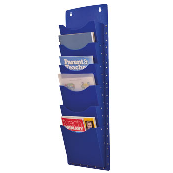 FILA POCKET WALL MOUNTED HANGERS, 6 Pockets, Blue, Each