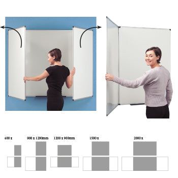SPACESAVER WHITEBOARD, 2000 x 1200mm, Non-Magnetic