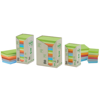 POST-IT(R) RECYCLED NOTES, Rainbow Pastel, Towers, 76 x 127mm, Pack of 16