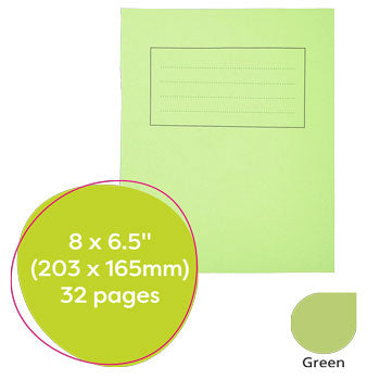 EXERCISE BOOKS, MANILLA COVERS, 8 x 61/2'' (203 x 165mm), 32 pages, Handwriting book, Green, Pack of 25