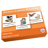 SMART PHONICS, PICTURE CAPTION MATCHING PUZZLES, Phase Two Set 2, Set