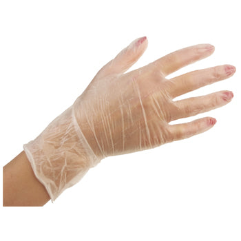 DISPOSABLE EXAMINATION GLOVES, DISPOSABLE CLINICAL GLOVES, VINYL GLOVES, Vinyl, Pre-Powdered, Clear, Medium, Box of 100