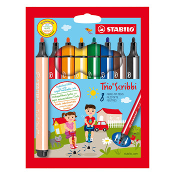 PENS, WASHABLE FIBRE TIP, BROAD, STABILO(R) Trio Scribbi, Assorted, Pack of 8