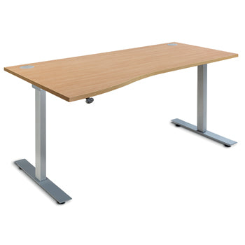 ELECTRIC HEIGHT ADJUSTABLE DESKS, SINGLE WAVE, 1600mm width, Right Return, Beech