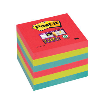 POST-IT(R) SUPER STICKY COLOUR NOTES, Bora Bora, 76 x 76mm, Pack of 6