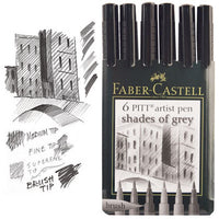 FABER-CASTELL DRAWING PENS, Grey, Pack of 6